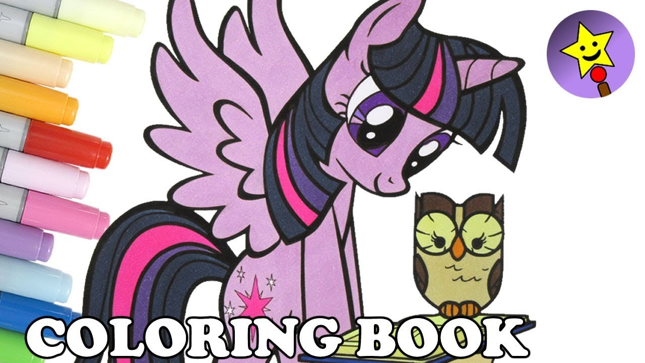Twilight Sparkle And Owlowiscious Coloring Book Page MLP My Little Pony Kids Art