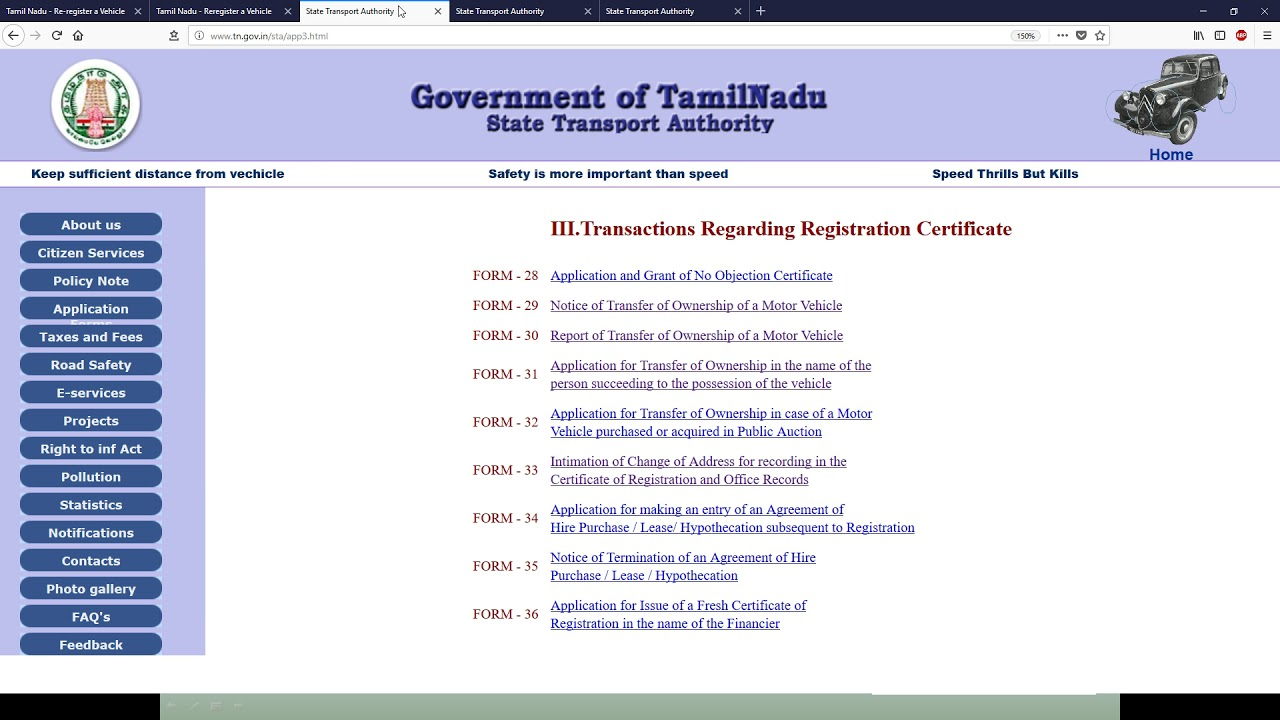 Tamil Nadu - Transfer of Vehicle Ownership from other State