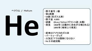 【原子番号2番】ヘリウムのお話をします【かわいい】