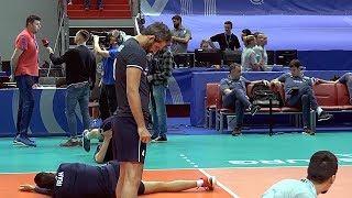 Волейбол. Разминка перед матчем. Сборная Ирана