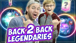 MY SON OPENS 2 Legendary CHESTS! PLUS TRIES to WIN MY MONEY?