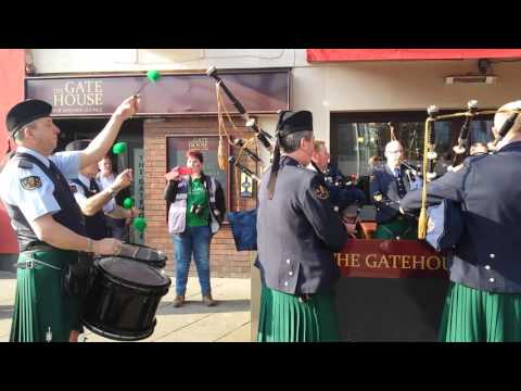 Irish pipers outside the offices of the Nottingham Post