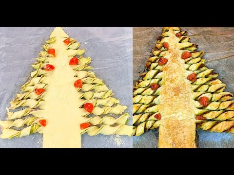 Savory puff pastry Christmas tree a unique idea ready in 20 minutes