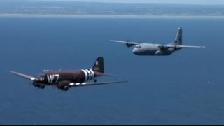 NORMANDY, FRANCE! Original WWII C-47 Flies Over The Beaches of Normandy Once Again!