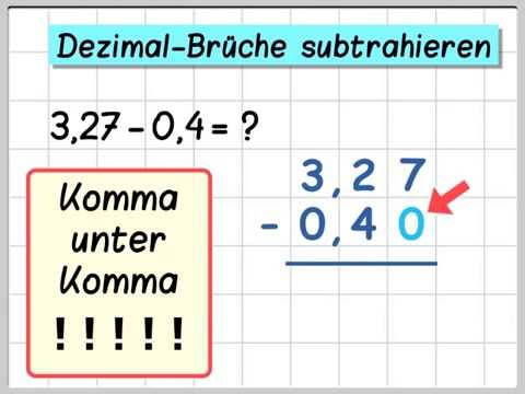 dezimalbrüche: addition und subtraktion - youtube
