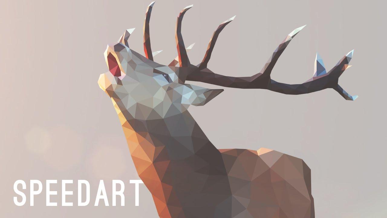 deer gray low poly - photo #12