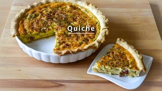 Simple Quiche Recipe with Caramelised Onion, Cheese, Egg and Ham
