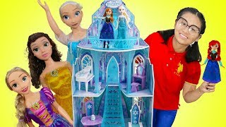 Funny Auntie Pretend Play w/ Disney Frozen Elsa Doll Playhouse Toys for Kids