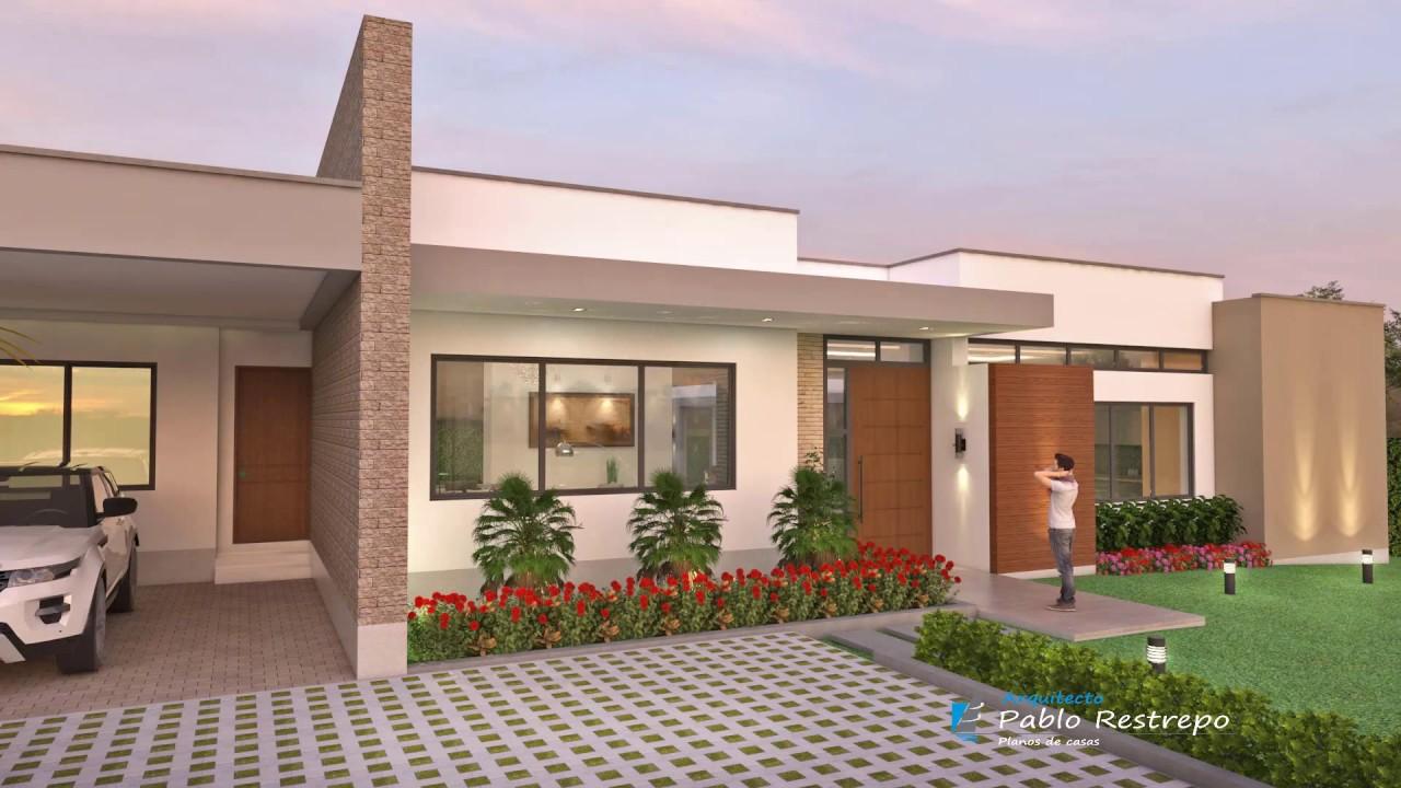 Dise o casa campestre moderna en l de un piso arquitecto for Casa moderna l
