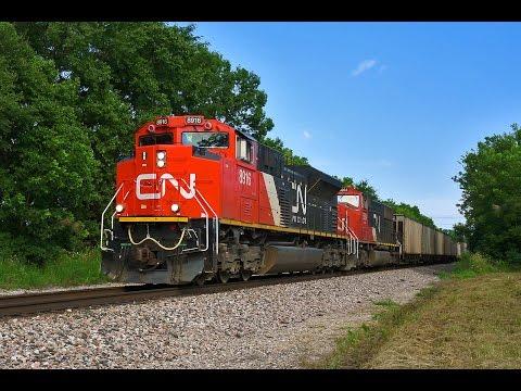 2016-08-20 UP, BNSF, CN at Paola KS (Drone Video)