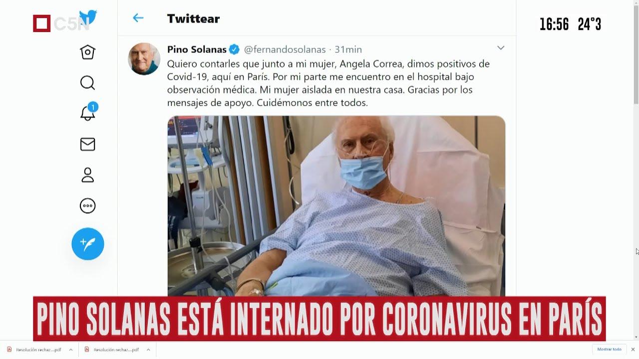 """Coronavirus: Fernando """"Pino"""" Solanas dio positivo y está internado en París  - YouTube"""