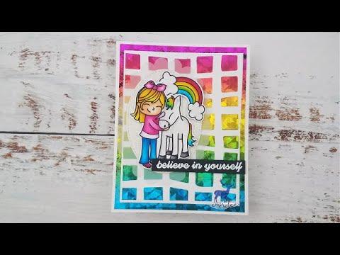 Koko Unicorn Handmade Card Featuring Erin Lee Creative And Deco Foil Rainbow Shattered Glass