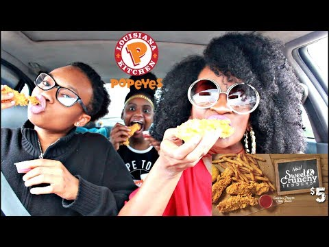 MUKBANG: POPEYES NEW SWEET & CRUNCHY TENDERS WITH SMOKIN PEPPER JAM SAUCE!! YUMMYBITESTV
