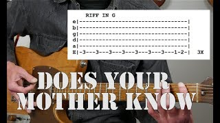 ABBA's Does Your Mother Know | Guitar Tutorial | Including tabs and a tip!