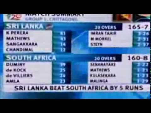 Sri Lanka vs South Africa T20 worldcup 2014 match summary