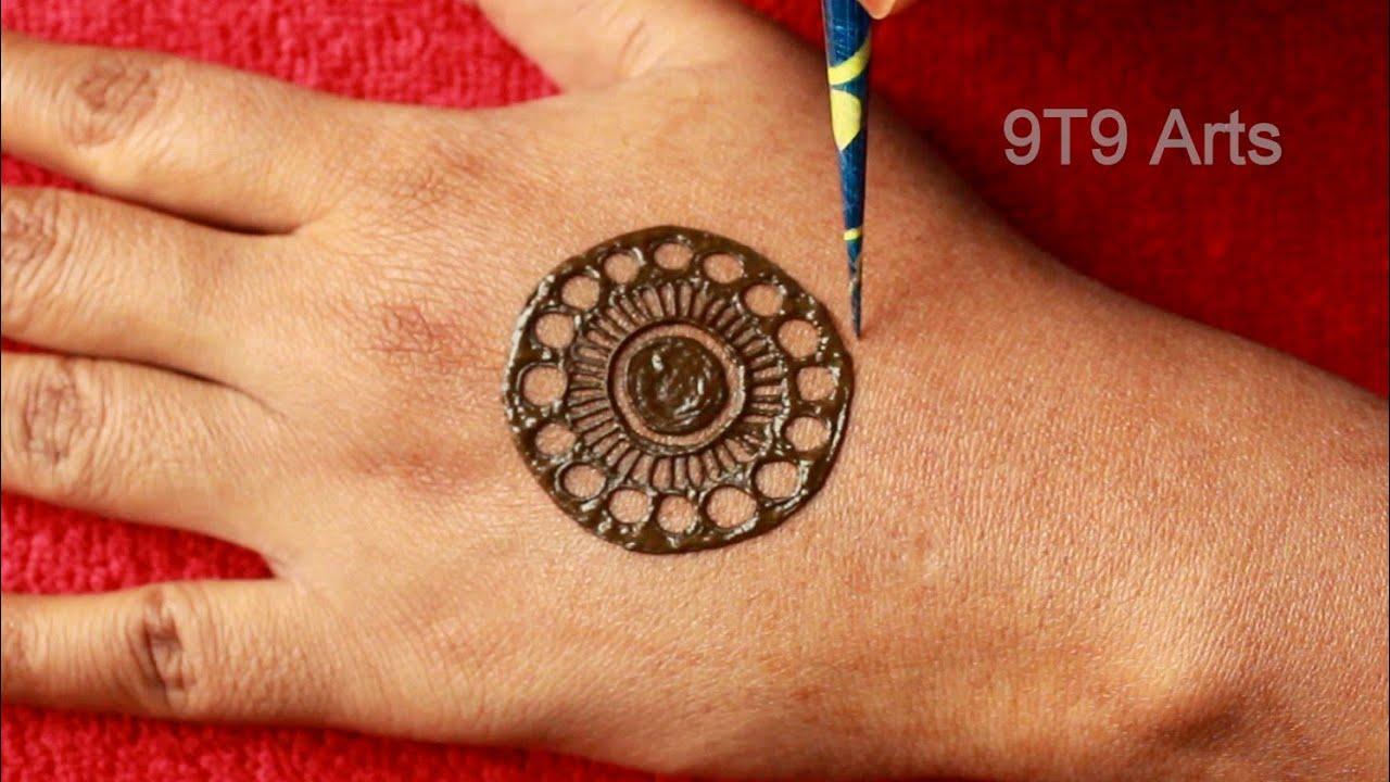 Simple Mehndi Design for Hands  Back Gol Tikki Mehendi Design 2020  Easy Mandala Mehndi Henna Design