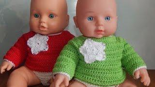 Одежда для кукол крючком. Кофта с аппликацией