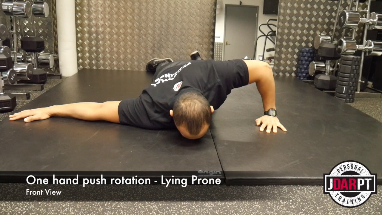 Front Shoulder Pain-Lying Prone One Hand Push Up W ...