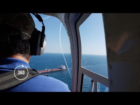 A Helicopter Ride Offshore | 360 Video