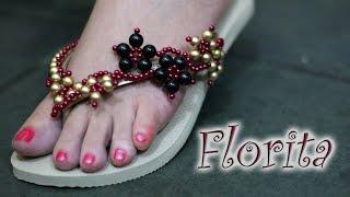 Chinelo decorado: Manta de flores de pérola