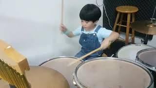 Lion dance drum by 5-year-old boy