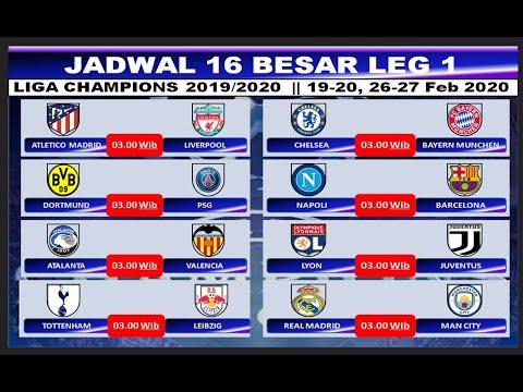 Jadwal Leg 1 Babak 16 Besar Liga Champions 2019 2020 Hasil Drawing 16 Besar Liga Champions Youtube