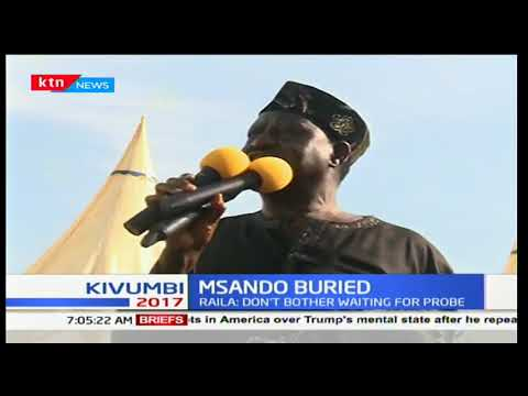 NASA flag bearer Raila Odinga talks at IEBC ICT manager Chris Msando's burial ceremony Lifunga-Siaya