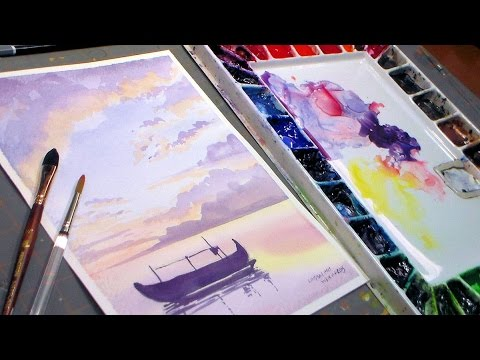 Fishing boat watercolor sunset real time painting for Video tutorial on watercolor painting