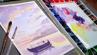 Fishing Boat Watercolor Sunset {REAL TIME painting tutorial}