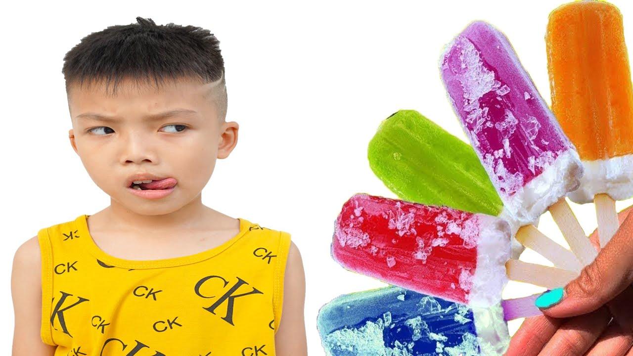 أطفال مضحك تعلم اللون مع الأطفال يأكلون الآيس كريم جوني جوني نعم بابا أغاني أغاني الأطفال