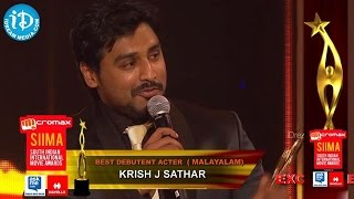 Malayalam,Best Debutant Actor Krish J Sathar || SIIMA 2014