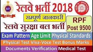 RPF RECRUITMENT 2018 QUALIFICATION/ AGE LIMIT/ EXAM PATTERN/ PET TEST ETC // RAILWAY BHARTI 2018
