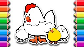 How to draw and color hen and chicks   Drawing coloring pages for kids