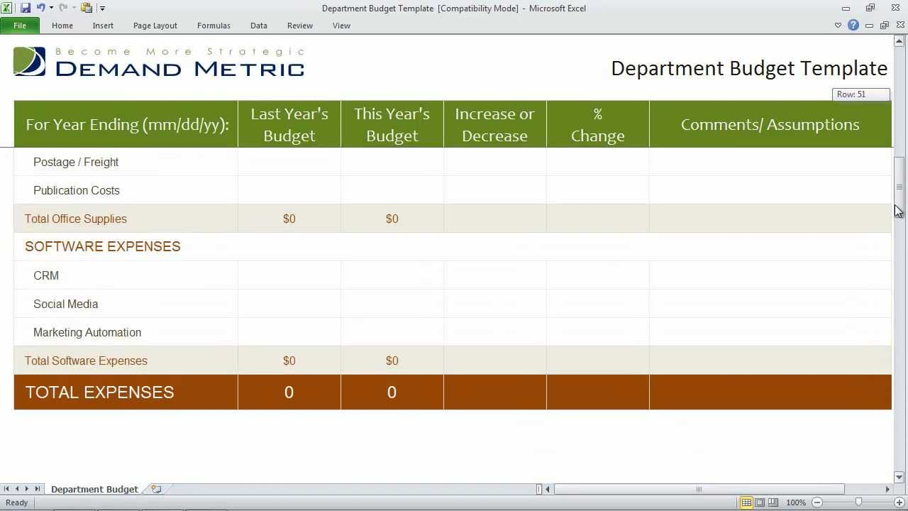 Department Budget Template Excel