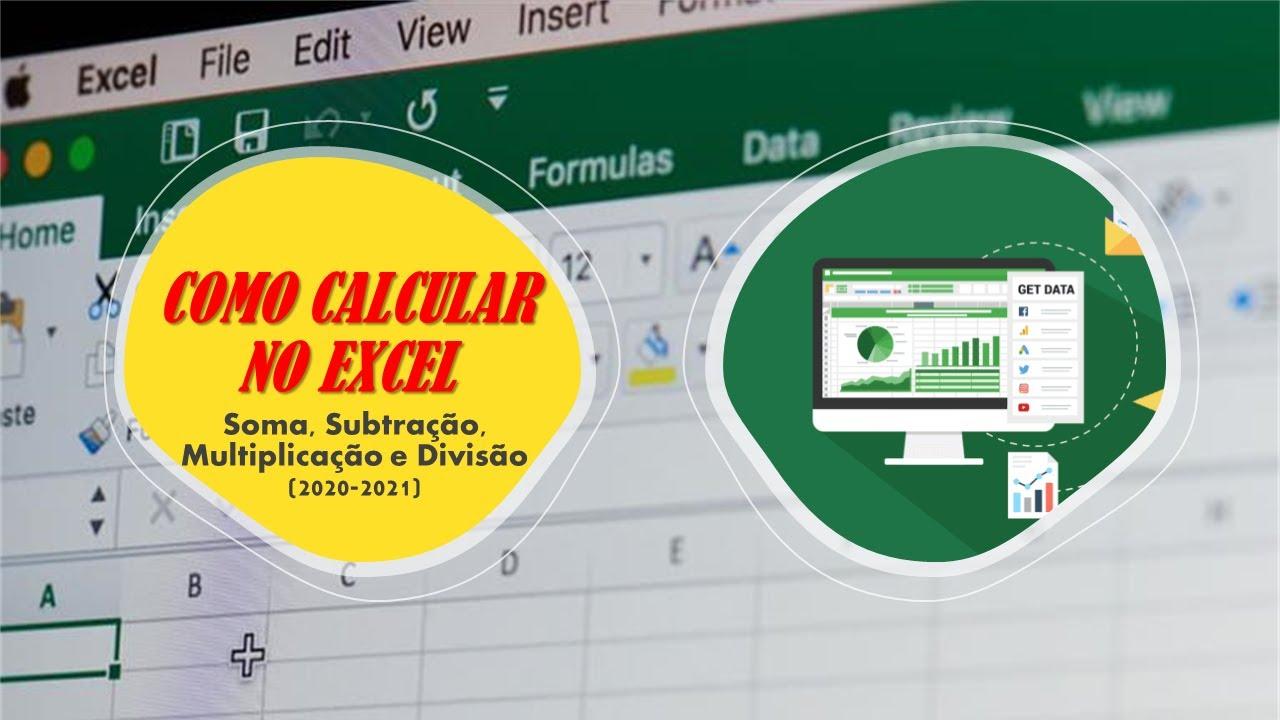 Como CALCULAR no Excel Soma, Subtração, Multiplicação e Divisão 20 20