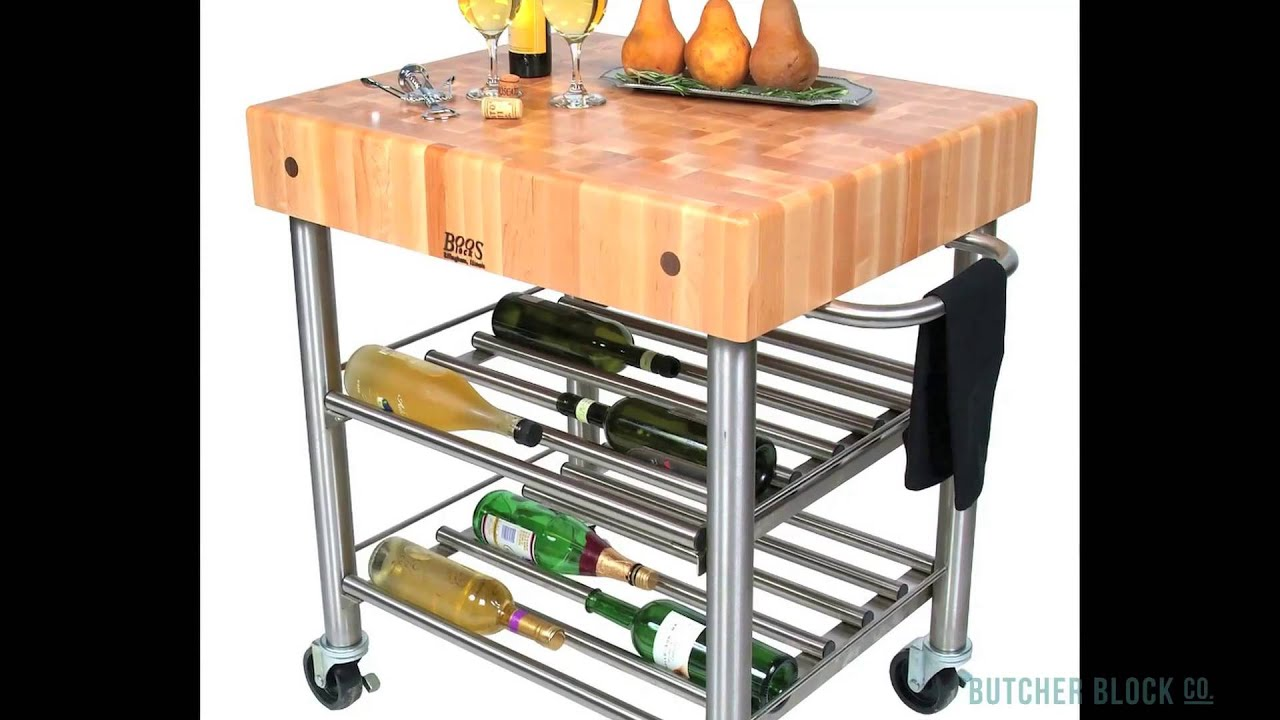 Kitchen Carts Made of Butcher Block Stainless Steel & Hardwood