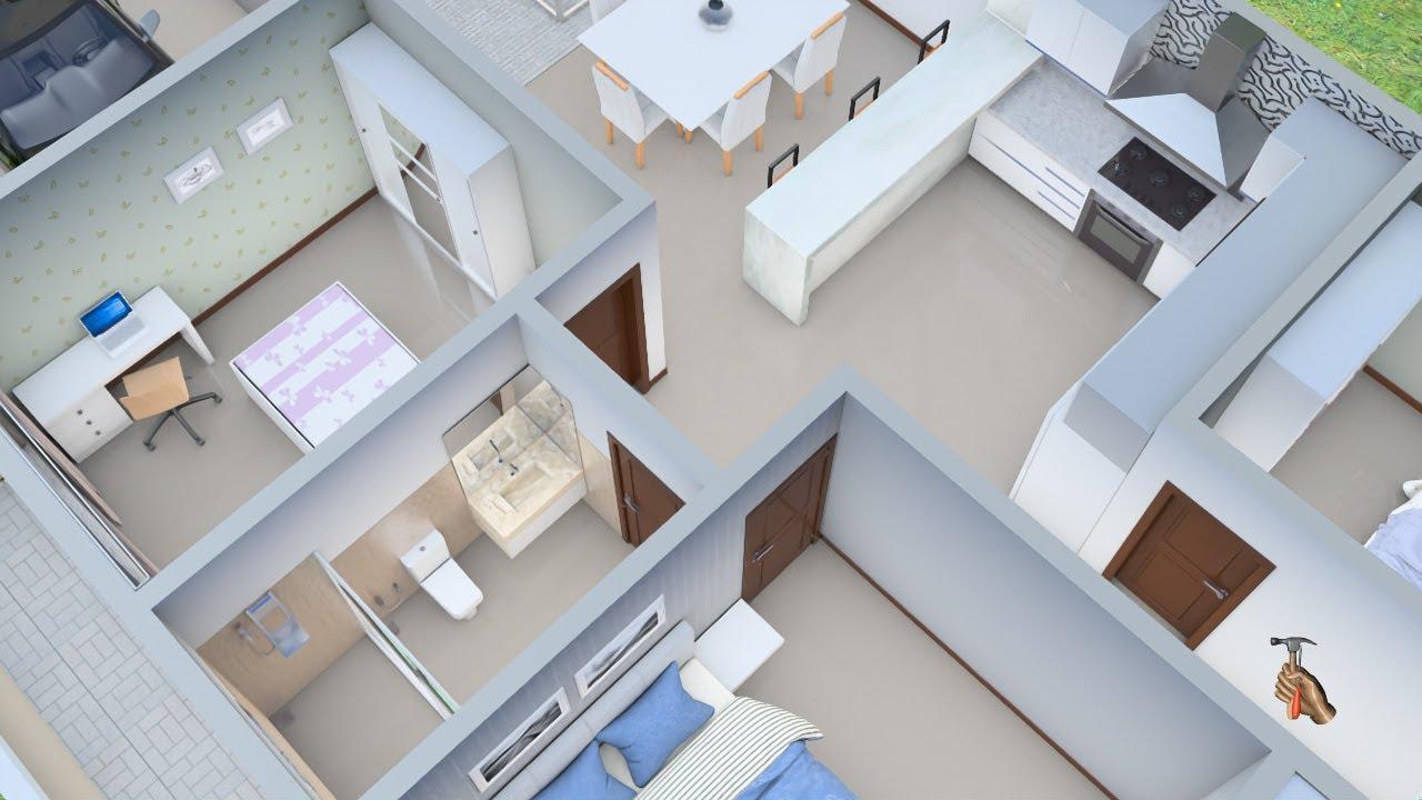 Planta 3D com três  Quartos  com Cozinha Americana e Closet