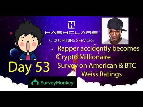 Cloud Mining - Day 53 - Rapper Becomes Crypto Millionaire, Survey on American/BTC, Weiss Ratings