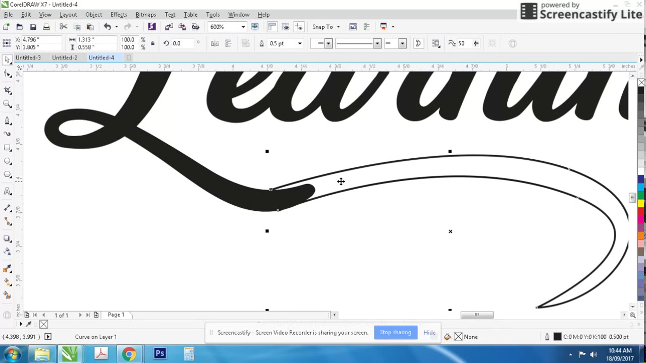 Coreldraw tutorial How To create a tipografi design with pen tool - YouTube