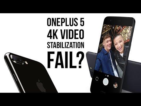 OnePlus 5 fails at 4K video stabilization: comparison vs Apple iPhone 7 Plus