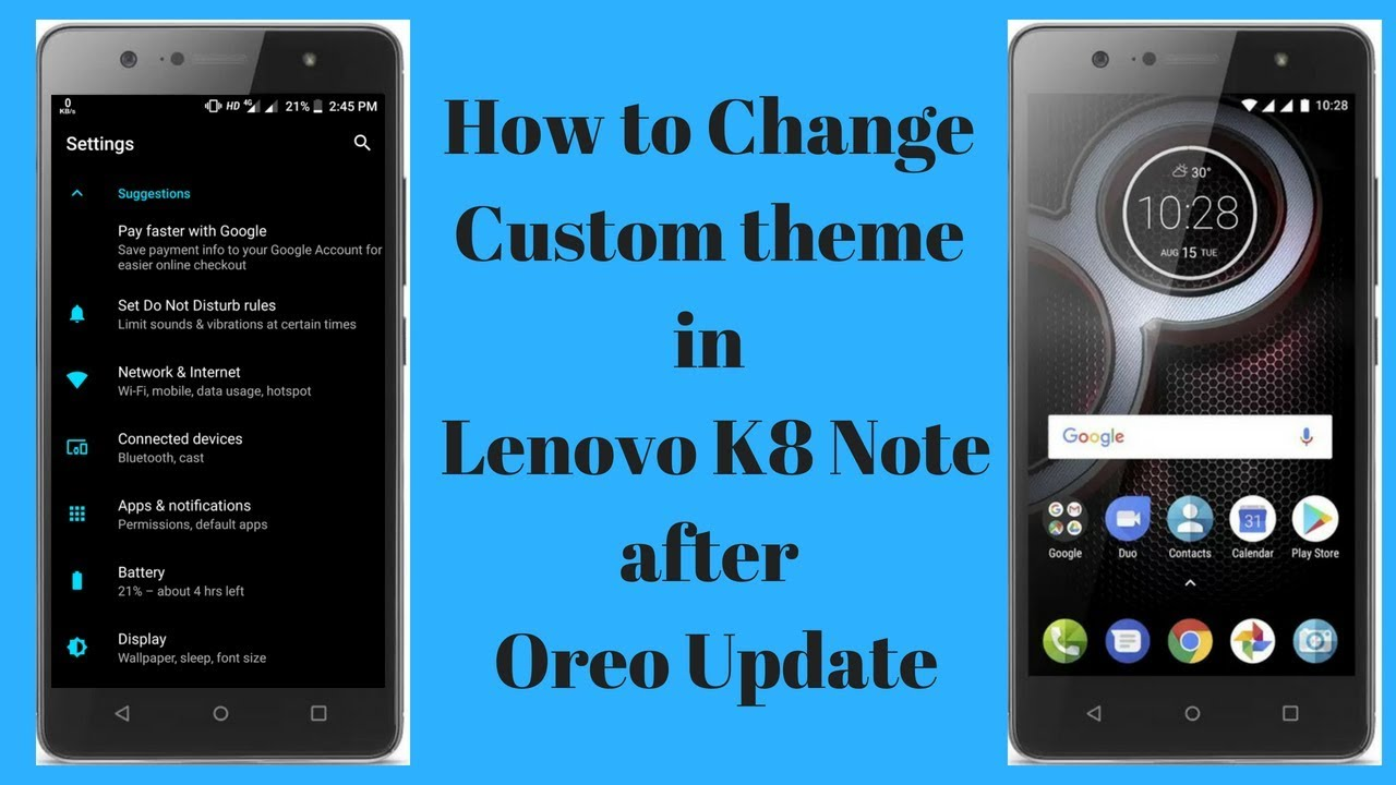 k8 note || how to change theme in K8 Note || Oreo update