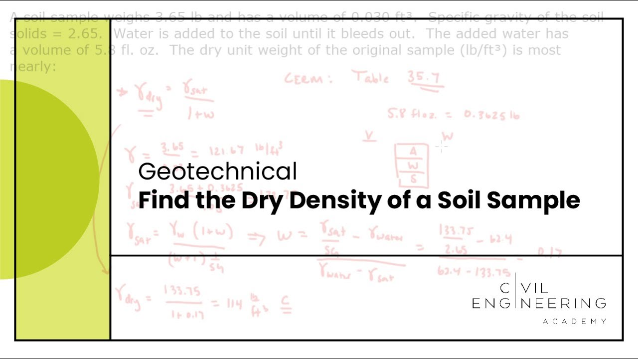 Geotech find the dry density of a soil sample youtube for Soil unit weight