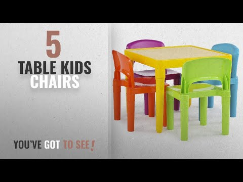 Top 10 Table Kids Chairs [2018]: Tot Tutors Kids Plastic Table and 4 Chairs Set, Vibrant Colors