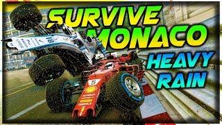 SURVIVE MONACO, IN HEAVY RAIN - F1 2018 Extreme Damage F1 Game Keyboard Challenge