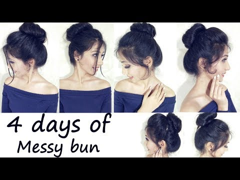 Easy Everyday Messy Bun Hairstyle For School, College, Work | 4 Days Of Messy Bun
