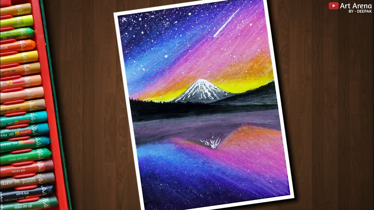 Galaxy Mountain Landscape Drawing For Beginners With Oil