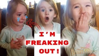 LITTLE GIRL'S EPIC REACTION TO BEAUTY AND THE BEAST! (FREAKOUT) SURPRISE! HEARTWARMING | TEARS