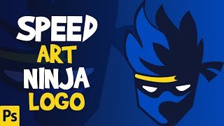 Speed art fortnite ninja Logo photoshop | Ninja Mascot Logo