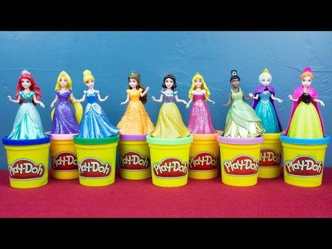 Ariel Elsa Anna Rapunzel Cinderella Snow White Aurora Tiana Belle Disney Princess Play Doh Dress Up