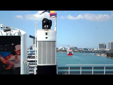 Ferry from the Bahamas enters Port Miami turning basin.
